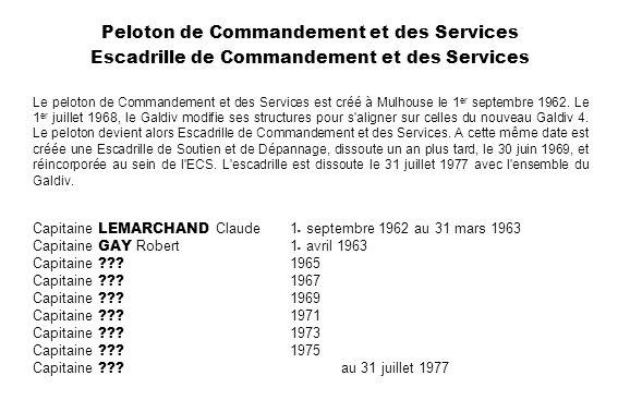 Peloton de Commandement et des Services Escadrille de Commandement et des Services Le peloton de Commandement et des Services est créé à Mulhouse le 1