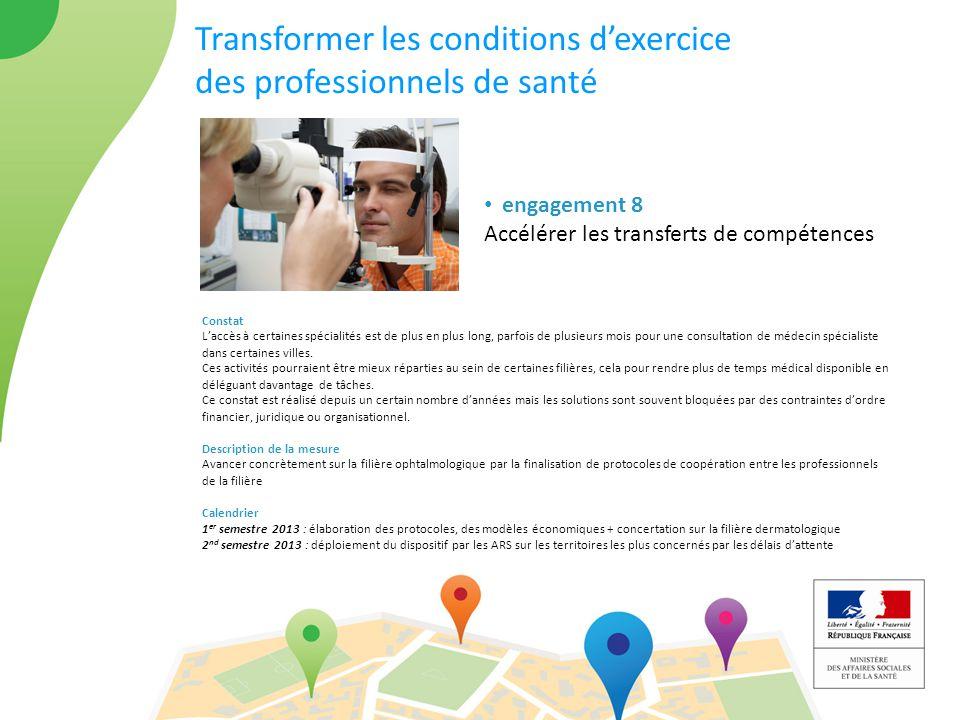 Transformer les conditions d'exercice des professionnels de santé engagement 8 Accélérer les transferts de compétences Constat L'accès à certaines spé