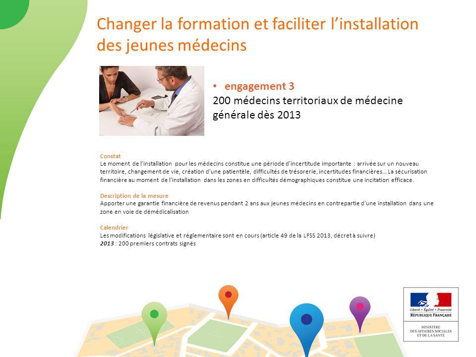 Changer la formation et faciliter l'installation des jeunes médecins engagement 3 200 médecins territoriaux de médecine générale dès 2013 Constat Le m