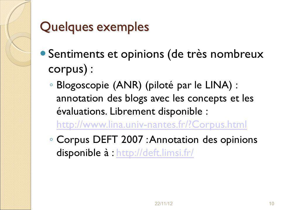 22/11/121022/11/1210 Quelques exemples Sentiments et opinions (de très nombreux corpus) : ◦ Blogoscopie (ANR) (piloté par le LINA) : annotation des blogs avec les concepts et les évaluations.