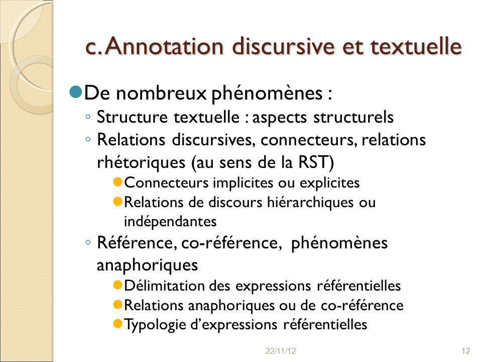 22/11/121222/11/1212 c. Annotation discursive et textuelle De nombreux phénomènes : ◦ Structure textuelle : aspects structurels ◦ Relations discursive