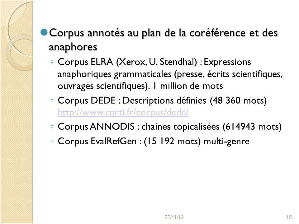 22/11/121522/11/1215 Corpus annotés au plan de la coréférence et des anaphores Corpus annotés au plan de la coréférence et des anaphores ◦ Corpus ELRA (Xerox, U.