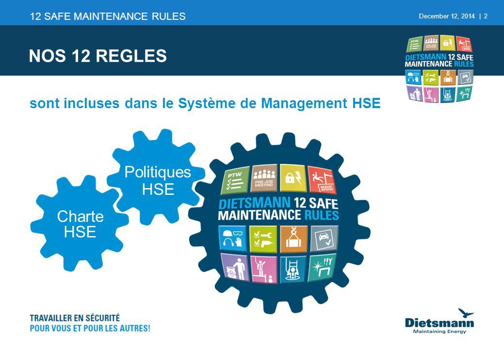 December 12, 2014 | 2 sont incluses dans le Système de Management HSE NOS 12 REGLES 12 SAFE MAINTENANCE RULES Charte HSE Politiques HSE