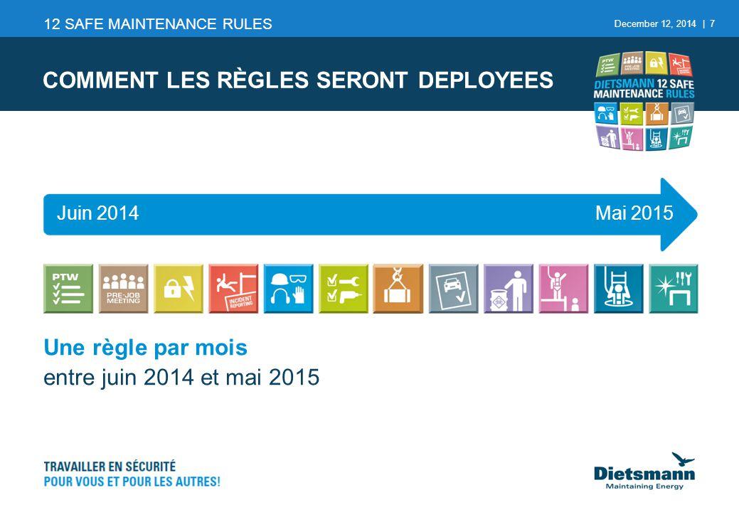 December 12, 2014 | 7 Une règle par mois entre juin 2014 et mai 2015 COMMENT LES RÈGLES SERONT DEPLOYEES 12 SAFE MAINTENANCE RULES Juin 2014Mai 2015
