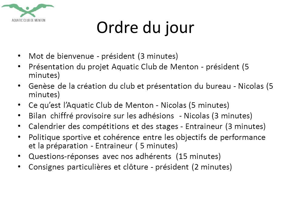 Mot de bienvenue - président (3 minutes) Présentation du projet Aquatic Club de Menton - président (5 minutes) Genèse de la création du club et présentation du bureau - Nicolas (5 minutes) Ce qu'est l'Aquatic Club de Menton - Nicolas (5 minutes) Bilan chiffré provisoire sur les adhésions - Nicolas (3 minutes) Calendrier des compétitions et des stages - Entraineur (3 minutes) Politique sportive et cohérence entre les objectifs de performance et la préparation - Entraineur ( 5 minutes) Questions-réponses avec nos adhérents (15 minutes) Consignes particulières et clôture - président (2 minutes) Ordre du jour