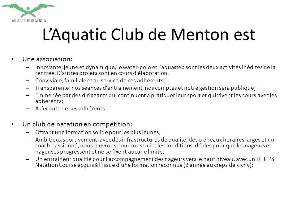 Une association: – Innovante: jeune et dynamique, le water-polo et l'aquastep sont les deux activités inédites de la rentrée.