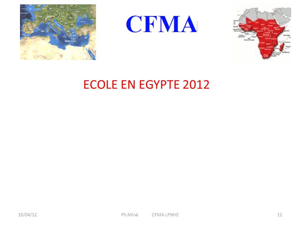 10/04/12Ph.Miné CFMA LPNHE12 ECOLE EN EGYPTE 2012
