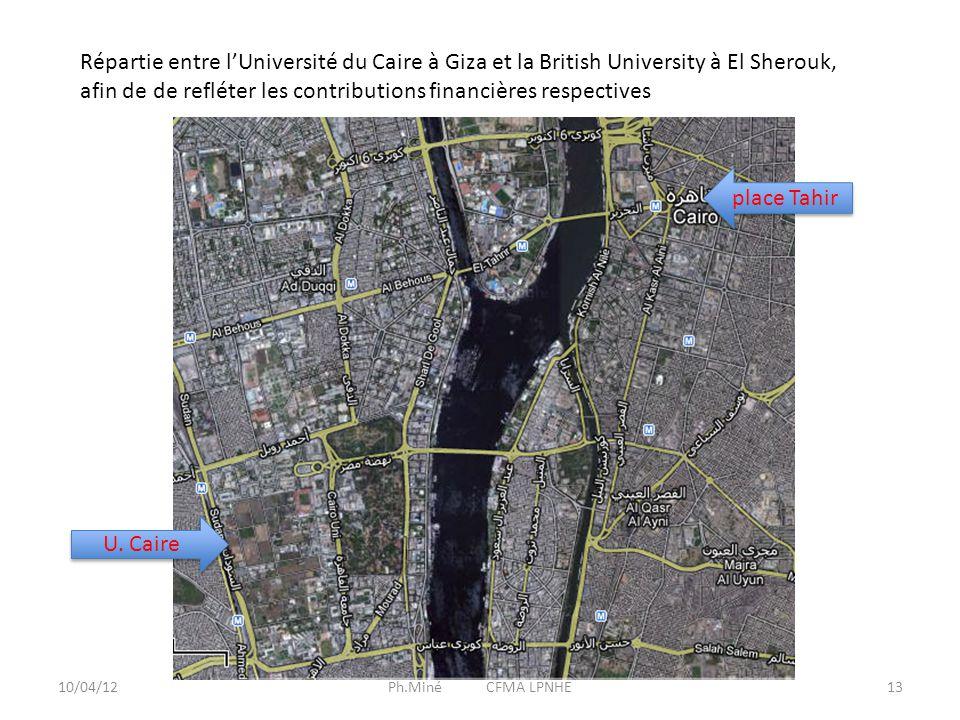 10/04/12Ph.Miné CFMA LPNHE13 Répartie entre l'Université du Caire à Giza et la British University à El Sherouk, afin de de refléter les contributions financières respectives U.