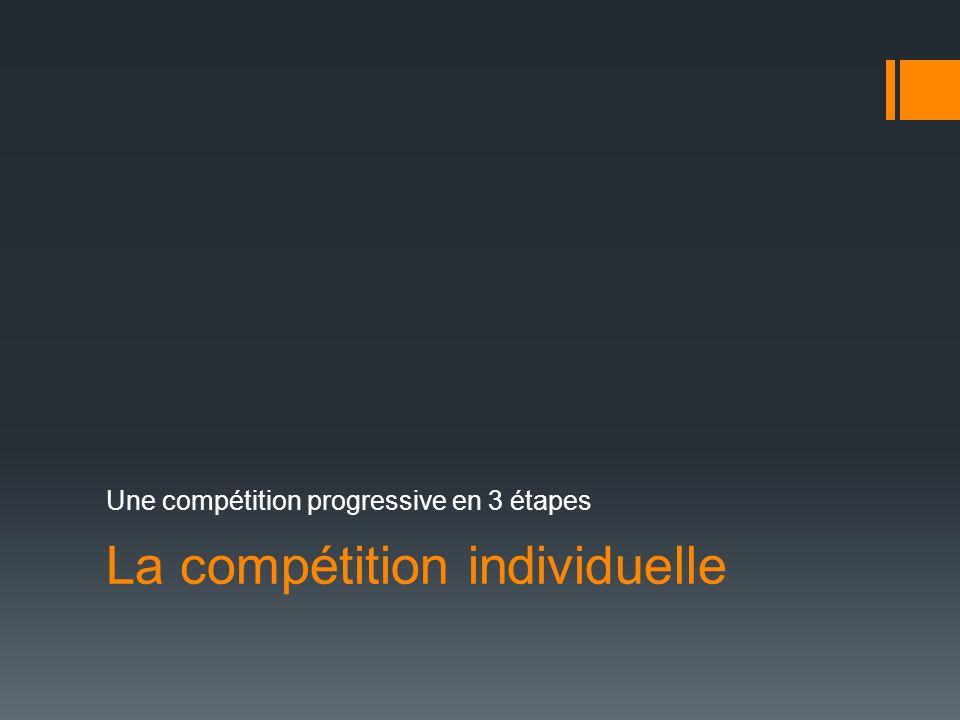 La compétition individuelle Une compétition progressive en 3 étapes