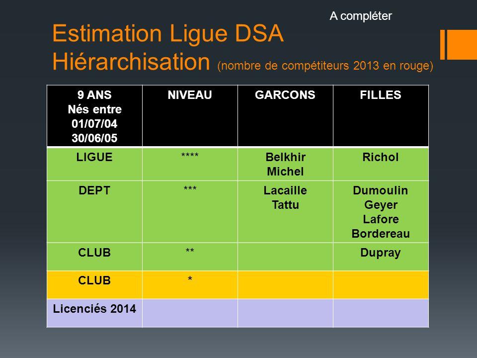 Estimation Ligue DSA Hiérarchisation (nombre de compétiteurs 2013 en rouge) 9 ANS Nés entre 01/07/04 30/06/05 NIVEAUGARCONSFILLES LIGUE****Belkhir Mic