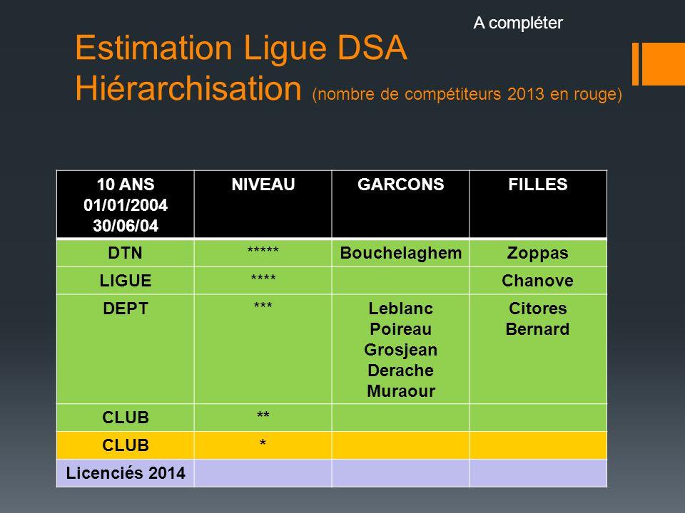 Estimation Ligue DSA Hiérarchisation (nombre de compétiteurs 2013 en rouge) 10 ANS 01/01/2004 30/06/04 NIVEAUGARCONSFILLES DTN*****BouchelaghemZoppas