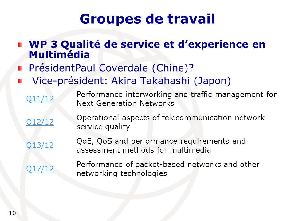 10 Groupes de travail WP 3 Qualité de service et d'experience en Multimédia PrésidentPaul Coverdale (Chine).