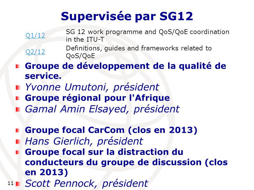 11 Supervisée par SG12 Groupe de développement de la qualité de service.