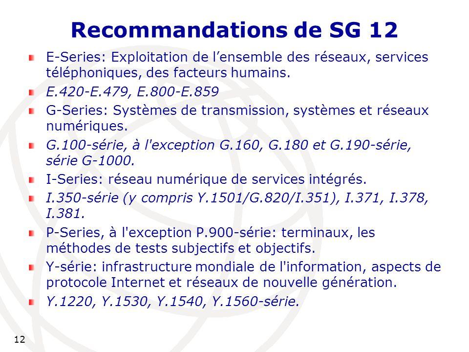 12 Recommandations de SG 12 E-Series: Exploitation de l'ensemble des réseaux, services téléphoniques, des facteurs humains.