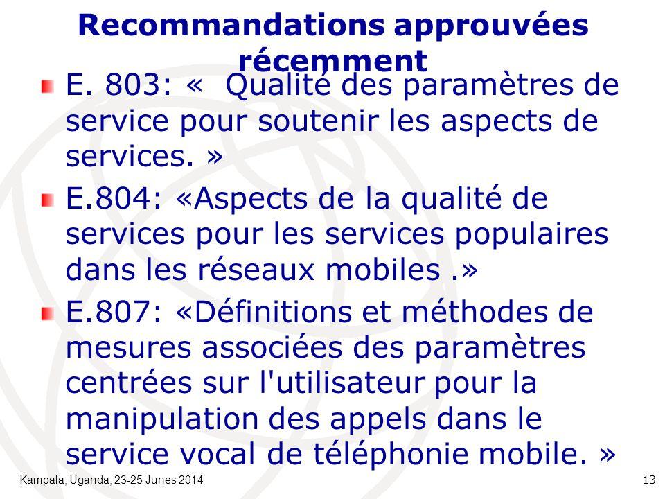 Recommandations approuvées récemment E.
