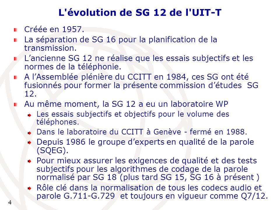 5 Évolution Depuis 1997, le groupe d'experts en qualité vidéo (VQEG): est muni d'un noyau d'expertise en qualité vidéo objective et subjective issu de SG 12.