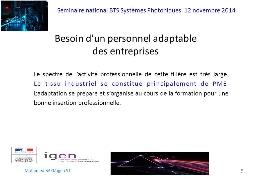 Séminaire national BTS Systèmes Photoniques 12 novembre 2014 Mohamed BAZIZ igen STI 5 Besoin d'un personnel adaptable des entreprises Le spectre de l'activité professionnelle de cette filière est très large.