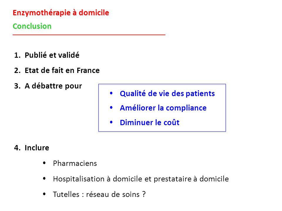 Enzymothérapie à domicile Conclusion 1. Publié et validé 2. Etat de fait en France 3. A débattre pour 4. Inclure  Pharmaciens  Hospitalisation à dom