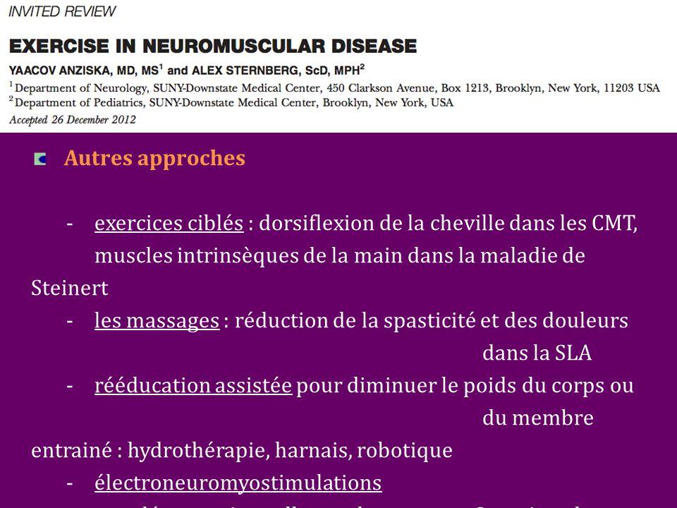 Autres approches - exercices ciblés : dorsiflexion de la cheville dans les CMT, muscles intrinsèques de la main dans la maladie de Steinert -les massages : réduction de la spasticité et des douleurs dans la SLA -rééducation assistée pour diminuer le poids du corps ou du membre entrainé : hydrothérapie, harnais, robotique -électroneuromyostimulations -supplémentation : albuterol, coenzyme Q, antioxydants, créatine