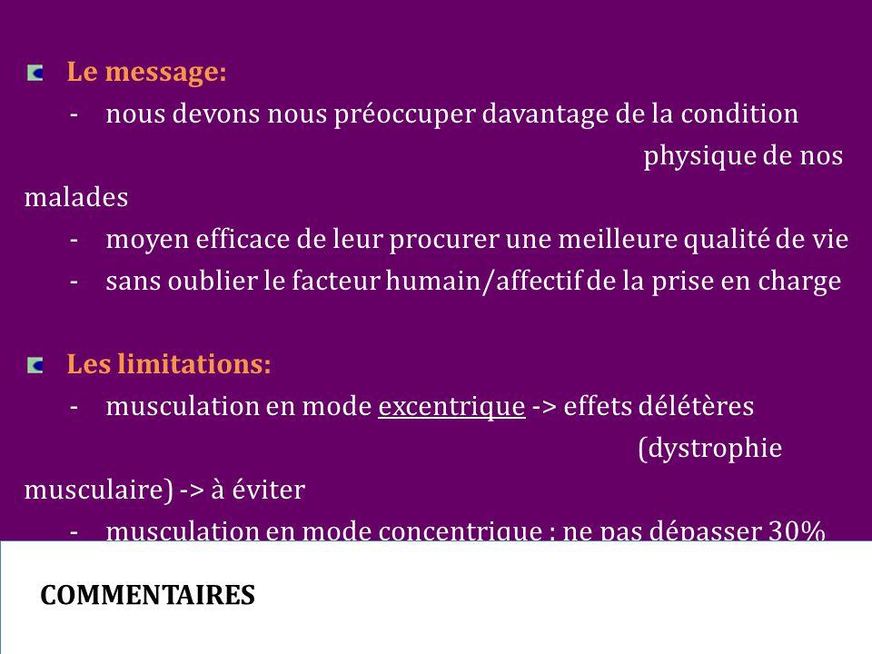 Le message: - nous devons nous préoccuper davantage de la condition physique de nos malades -moyen efficace de leur procurer une meilleure qualité de vie -sans oublier le facteur humain/affectif de la prise en charge Les limitations: -musculation en mode excentrique -> effets délétères (dystrophie musculaire) -> à éviter -musculation en mode concentrique : ne pas dépasser 30% de la charge maximale supportée par le patient COMMENTAIRES