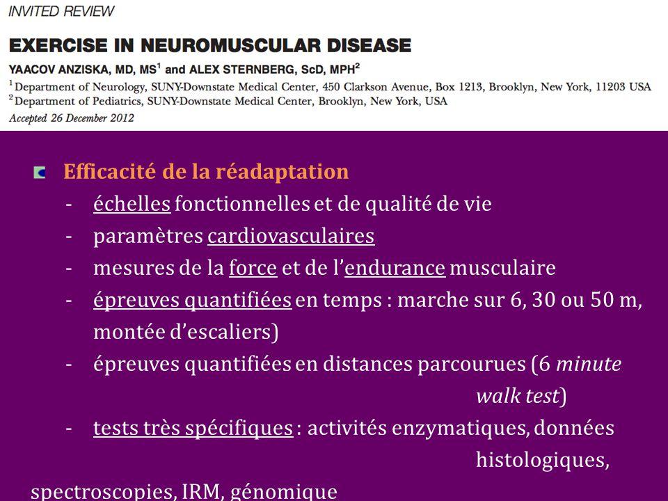 Efficacité de la réadaptation - échelles fonctionnelles et de qualité de vie - paramètres cardiovasculaires -mesures de la force et de l'endurance musculaire -épreuves quantifiées en temps : marche sur 6, 30 ou 50 m, montée d'escaliers) -épreuves quantifiées en distances parcourues (6 minute walk test) -tests très spécifiques : activités enzymatiques, données histologiques, spectroscopies, IRM, génomique