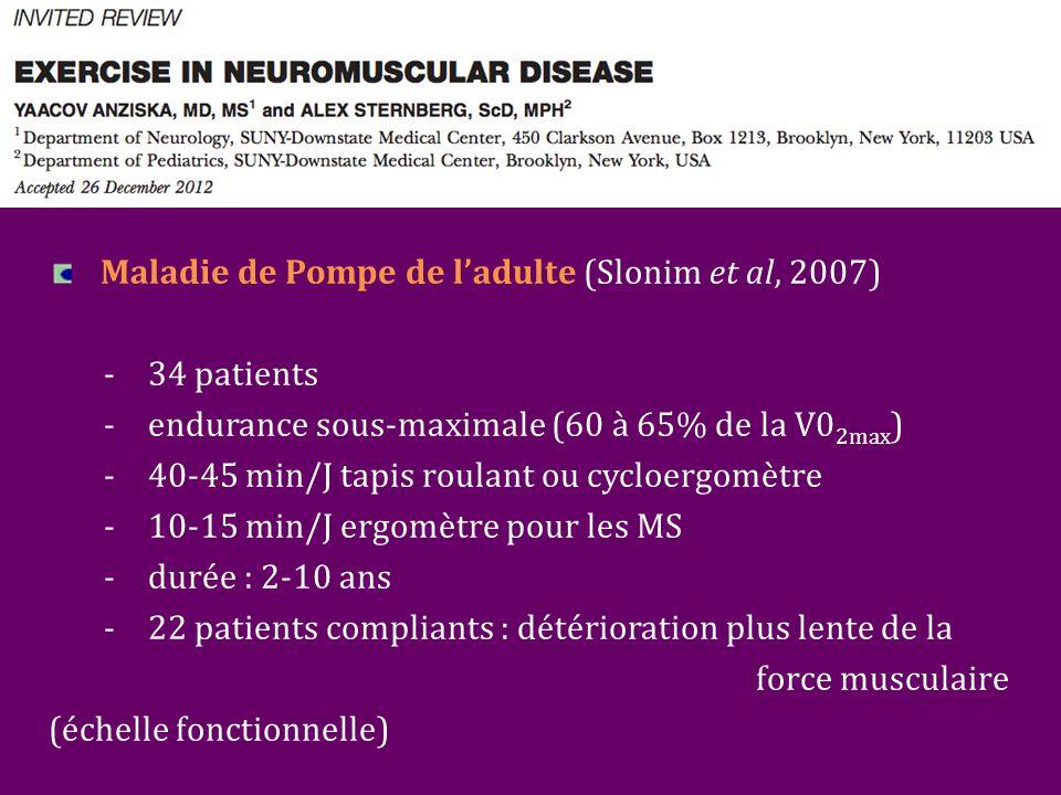 Maladie de Pompe de l'adulte (Slonim et al, 2007) - 34 patients -endurance sous-maximale (60 à 65% de la V0 2max ) -40-45 min/J tapis roulant ou cycloergomètre -10-15 min/J ergomètre pour les MS -durée : 2-10 ans -22 patients compliants : détérioration plus lente de la force musculaire (échelle fonctionnelle)