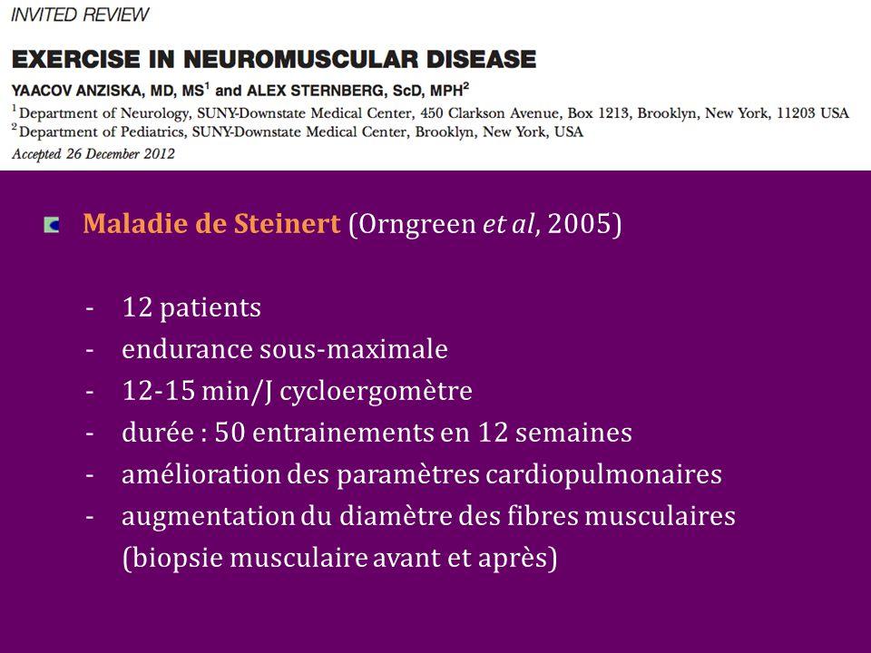 Maladie de Steinert (Orngreen et al, 2005) - 12 patients -endurance sous-maximale -12-15 min/J cycloergomètre -durée : 50 entrainements en 12 semaines -amélioration des paramètres cardiopulmonaires -augmentation du diamètre des fibres musculaires (biopsie musculaire avant et après)