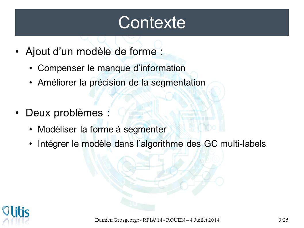Ajout d'un modèle de forme : Compenser le manque d'information Améliorer la précision de la segmentation Deux problèmes : Modéliser la forme à segment