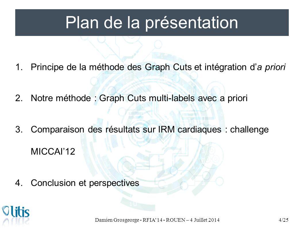 Plan de la présentation 1.Principe de la méthode des Graph Cuts et intégration d'a priori 2.Notre méthode : Graph Cuts multi-labels avec a priori 3.Comparaison des résultats sur IRM cardiaques : challenge MICCAI'12 4.Conclusion et perspectives Damien Grosgeorge - RFIA'14 - ROUEN – 4 Juillet 20145/25