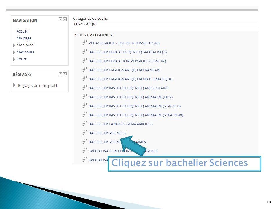Cliquez sur bachelier Sciences 10