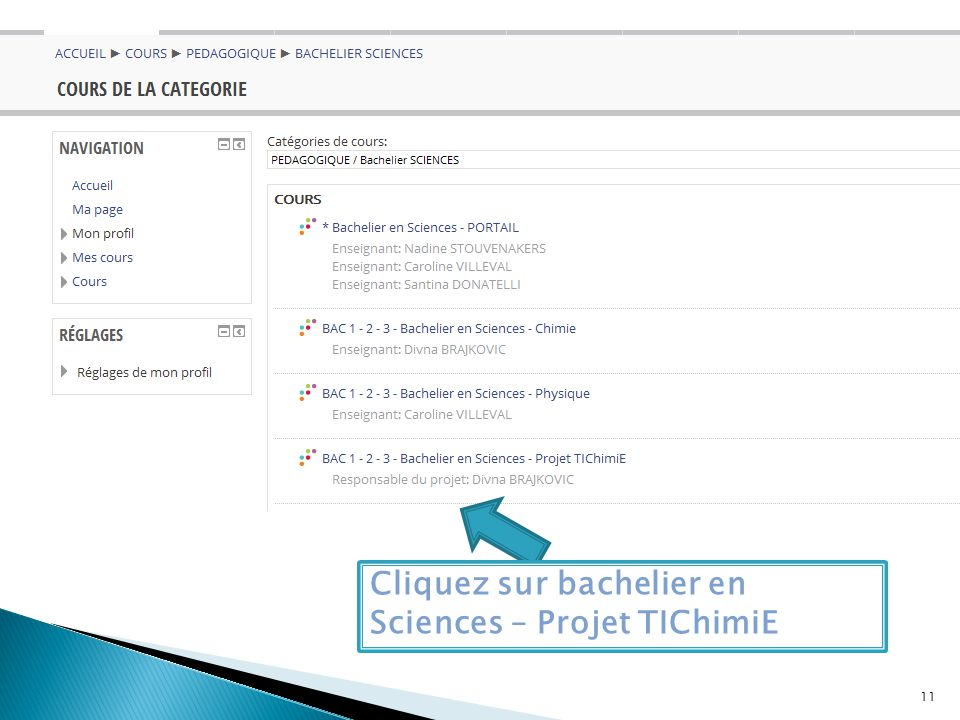Cliquez sur bachelier en Sciences – Projet TIChimiE 11