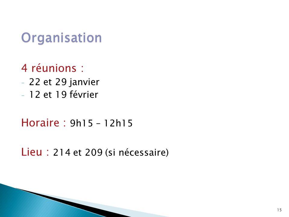 Organisation 4 réunions : - 22 et 29 janvier - 12 et 19 février Horaire : 9h15 – 12h15 Lieu : 214 et 209 (si nécessaire) 15
