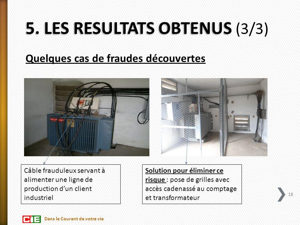 Quelques cas de fraudes découvertes 18 Câble frauduleux servant à alimenter une ligne de production d'un client industriel Solution pour éliminer ce r