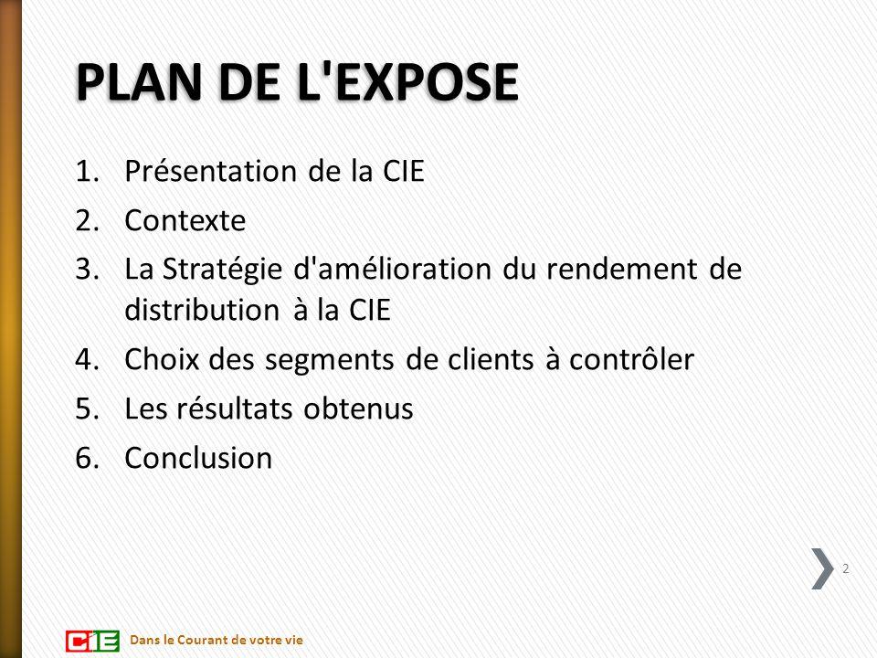 PLAN DE L'EXPOSE 1.Présentation de la CIE 2.Contexte 3.La Stratégie d'amélioration du rendement de distribution à la CIE 4.Choix des segments de clien