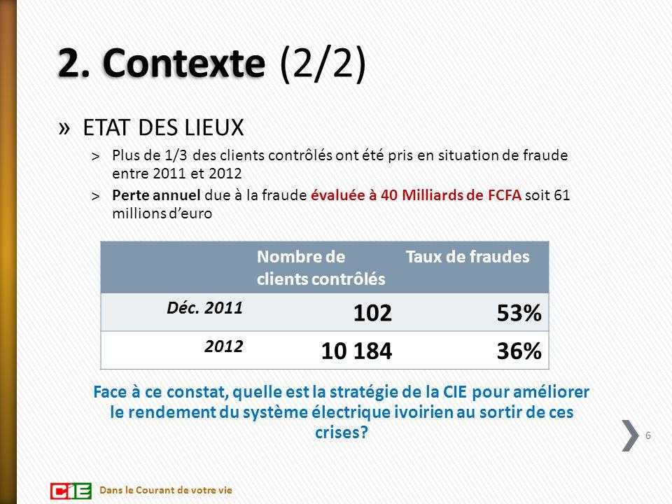 2. Contexte 2. Contexte (2/2) » ETAT DES LIEUX ˃Plus de 1/3 des clients contrôlés ont été pris en situation de fraude entre 2011 et 2012 ˃Perte annuel