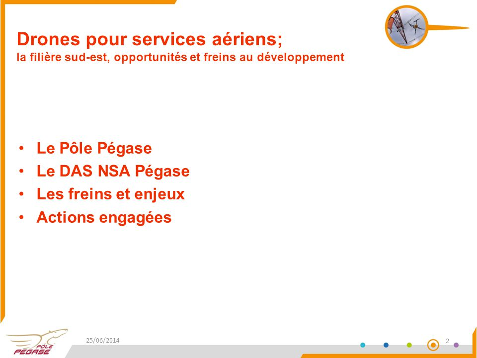 Drones pour services aériens; la filière sud-est, opportunités et freins au développement 25/06/2014 2 Le Pôle Pégase Le DAS NSA Pégase Les freins et