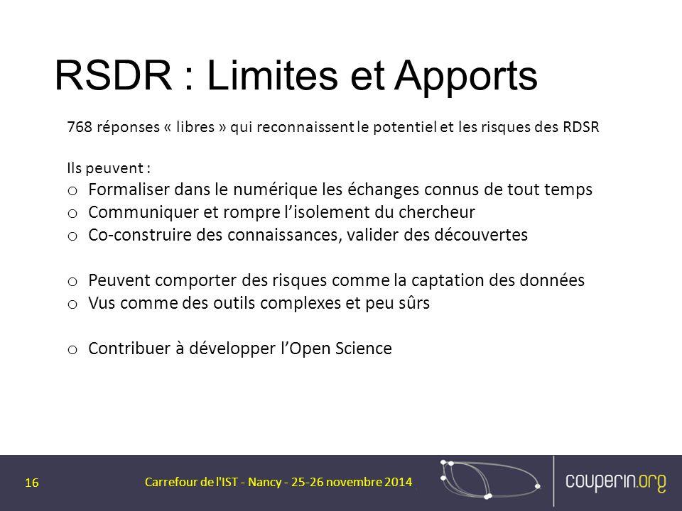 RSDR : Limites et Apports Carrefour de l'IST - Nancy - 25-26 novembre 2014 16 768 réponses « libres » qui reconnaissent le potentiel et les risques de