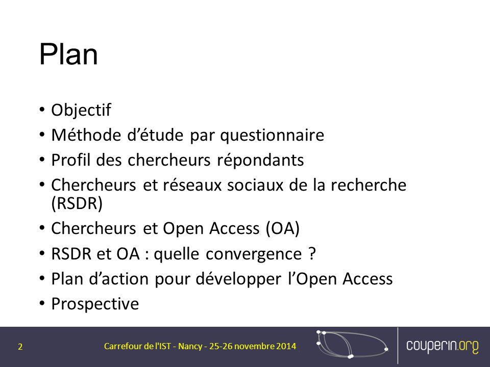 Plan Objectif Méthode d'étude par questionnaire Profil des chercheurs répondants Chercheurs et réseaux sociaux de la recherche (RSDR) Chercheurs et Op