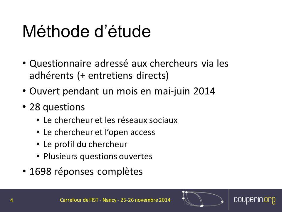 Méthode d'étude Questionnaire adressé aux chercheurs via les adhérents (+ entretiens directs) Ouvert pendant un mois en mai-juin 2014 28 questions Le