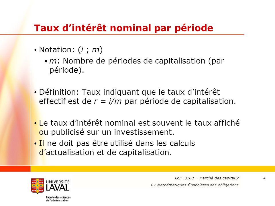www.ulaval.ca 35 Calcul du rendement réalisé Calcul de la valeur finale de l'investissement: Valeur accumulée, à la date de vente, des coupons au taux de réinvestissement.