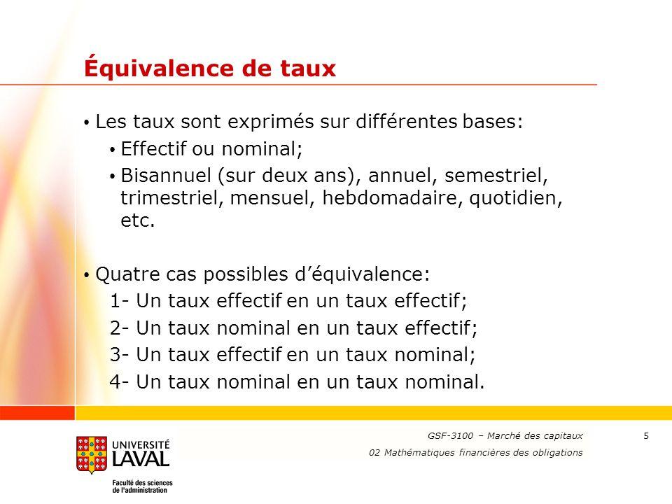 www.ulaval.ca 6 Cas 1: Taux effectif en taux effectif Exemple: Trouver le taux effectif mensuel équivalent à un taux effectif annuel de 12 %.