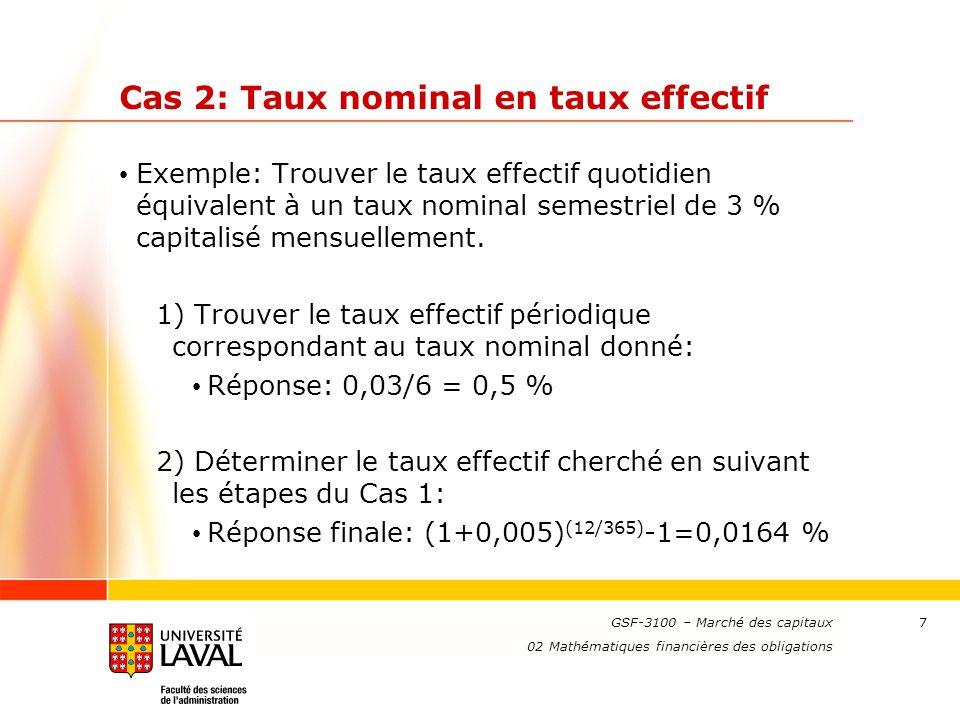 www.ulaval.ca 8 Cas 3: Taux effectif en taux nominal Exemple: Trouver le taux nominal bisannuel capitalisé annuellement équivalent à un taux effectif trimestriel de 2 %.