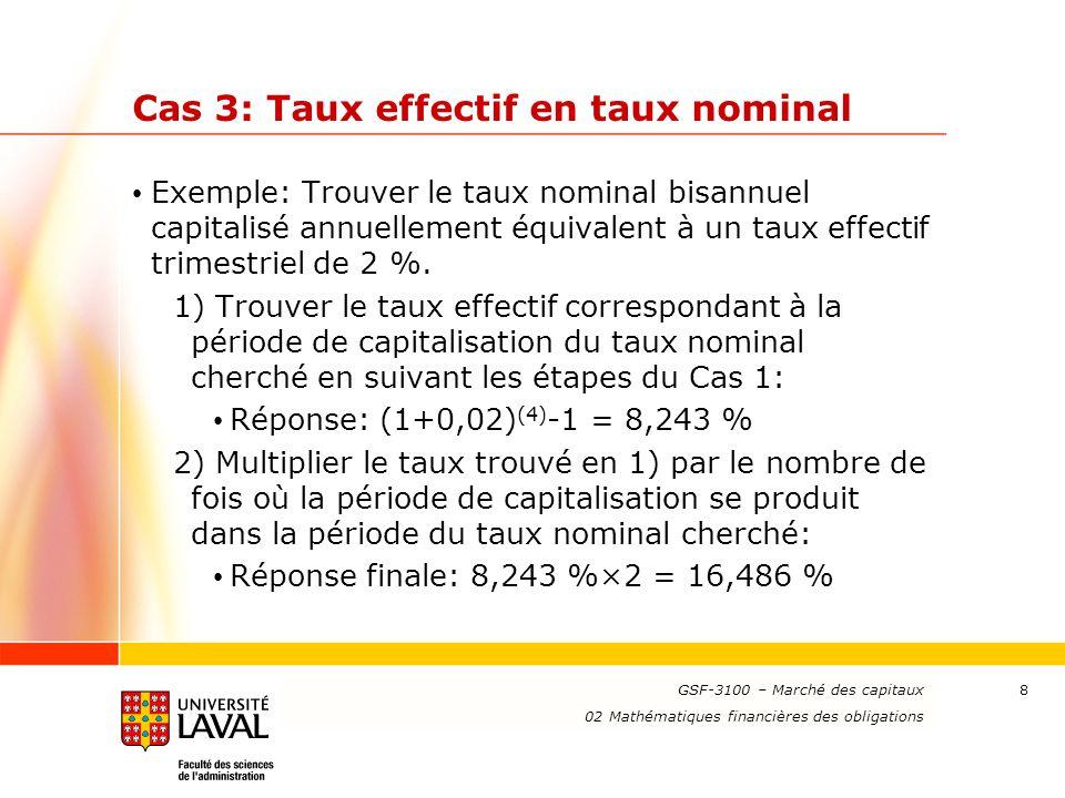 www.ulaval.ca 9 Cas 4: Taux nominal en taux nominal Exemple: Trouver le taux nominal annuel capitalisé semestriellement équivalent à un taux nominal mensuel de 1 % capitalisé trimestriellement.