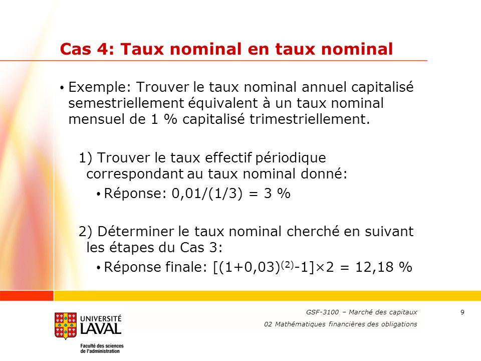 www.ulaval.ca 20 Exercices (suite) 5- Trouver le prix d'une obligation d'une valeur nominale de 100 $ venant à échéance dans 10 ans et ayant un taux de coupon de 5 % annuel payable deux fois par année en supposant un taux nominal annuel capitalisé mensuellement de 12 %.
