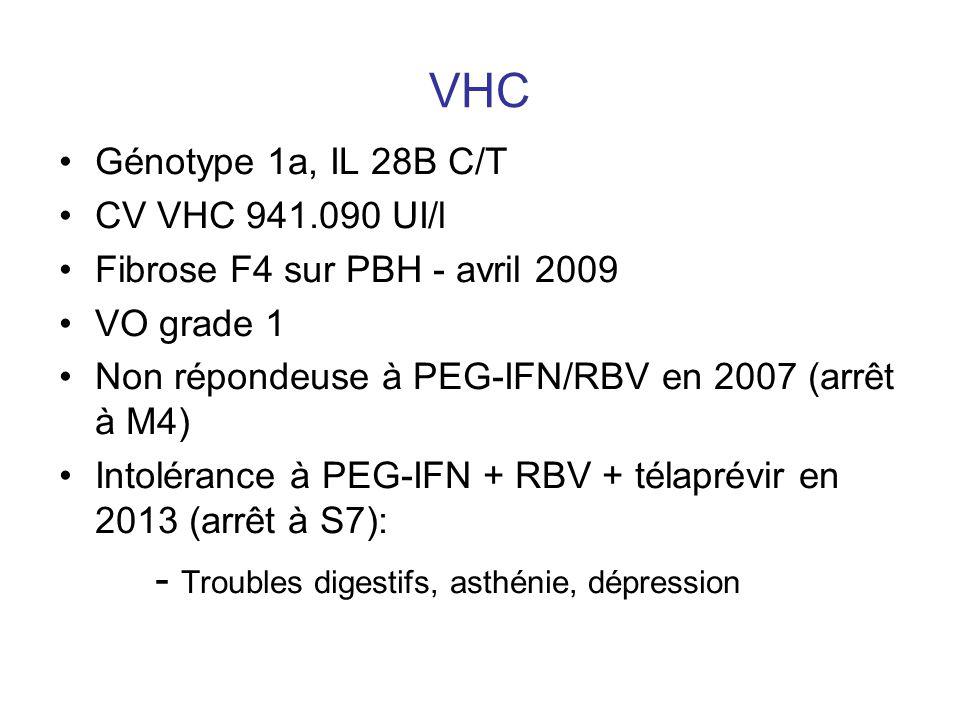 VHC Génotype 1a, IL 28B C/T CV VHC 941.090 UI/l Fibrose F4 sur PBH - avril 2009 VO grade 1 Non répondeuse à PEG-IFN/RBV en 2007 (arrêt à M4) Intoléran