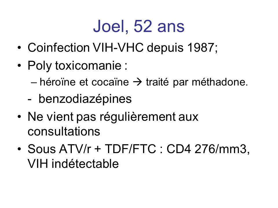 Joel, 52 ans Coinfection VIH-VHC depuis 1987; Poly toxicomanie : –héroïne et cocaïne  traité par méthadone. - benzodiazépines Ne vient pas régulièrem