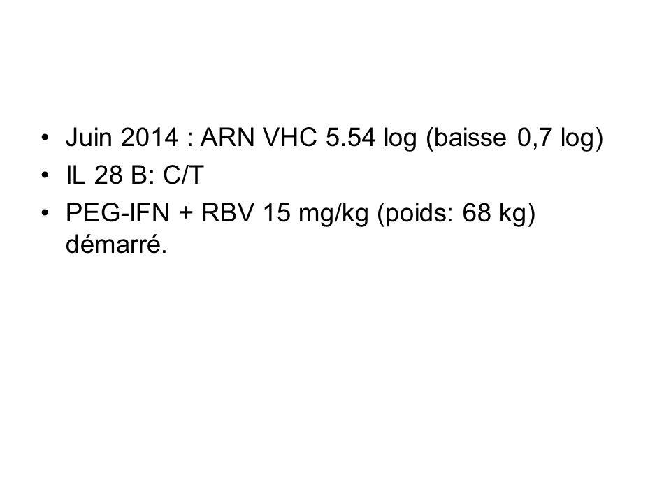 Juin 2014 : ARN VHC 5.54 log (baisse 0,7 log) IL 28 B: C/T PEG-IFN + RBV 15 mg/kg (poids: 68 kg) démarré.