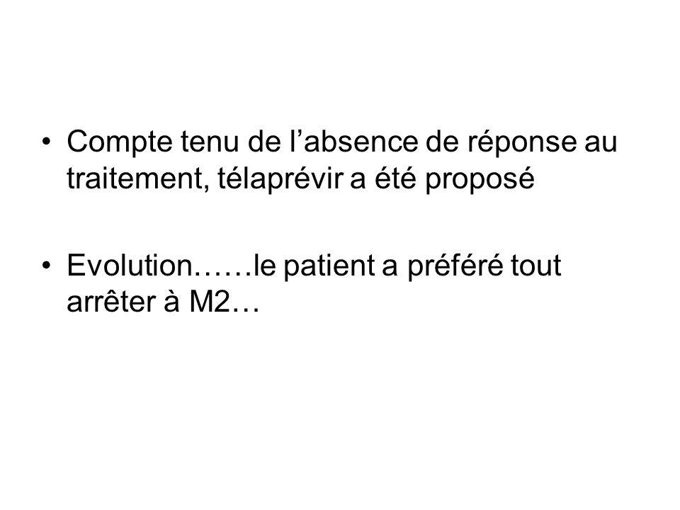 Compte tenu de l'absence de réponse au traitement, télaprévir a été proposé Evolution……le patient a préféré tout arrêter à M2…