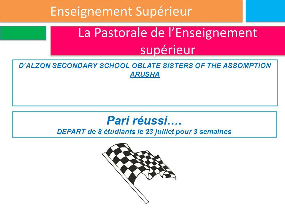 Enseignement Supérieur La Pastorale de l'Enseignement supérieur D'ALZON SECONDARY SCHOOL OBLATE SISTERS OF THE ASSOMPTION ARUSHA Pari réussi….