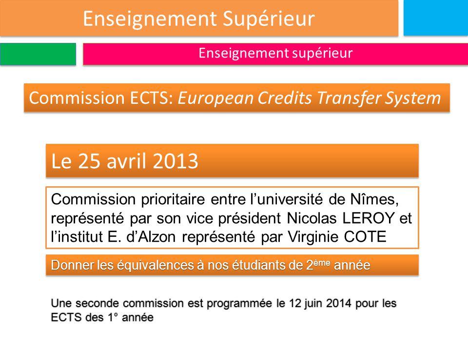 Enseignement Supérieur Enseignement supérieur Le 25 avril 2013 Commission prioritaire entre l'université de Nîmes, représenté par son vice président Nicolas LEROY et l'institut E.